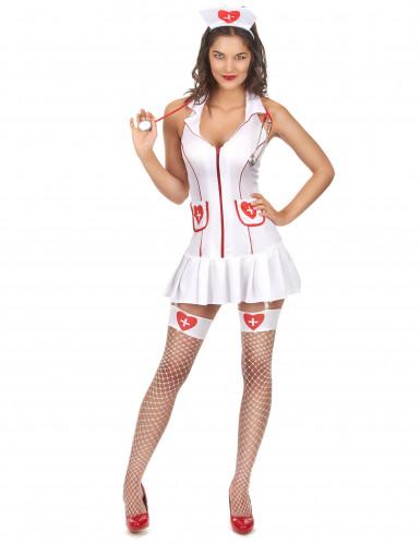 Disfraz de enfermera sexy vestido sin manga para mujer
