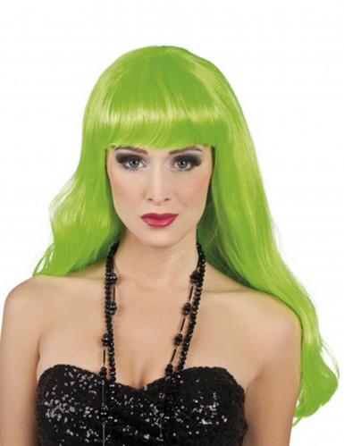Peluca larga verde fluorescente para mujer