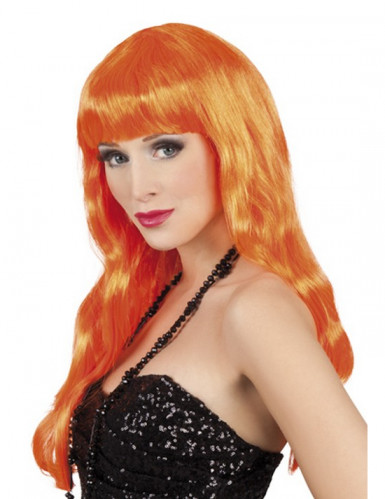 Peluca larga naranja con flequillo mujer