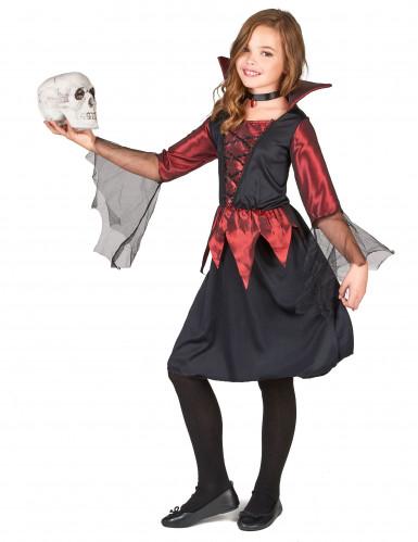 Disfraz de vampiresa para niña, ideal para Halloween-1