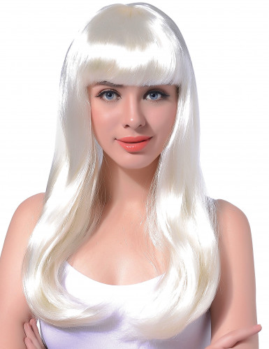 Peluca larga blanca para mujer