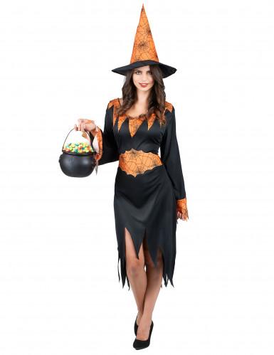 Disfraz naranja de bruja con arañas ideal para Halloween