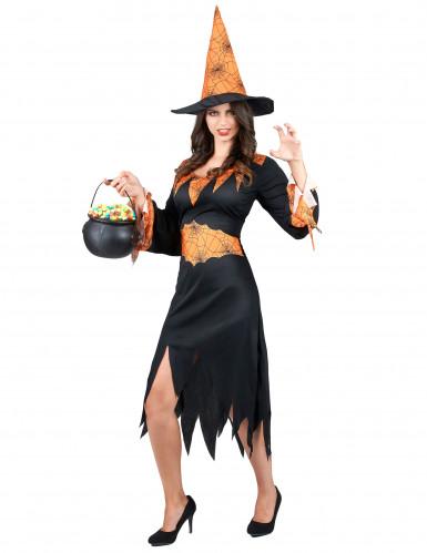 Disfraz naranja de bruja con arañas ideal para Halloween-1