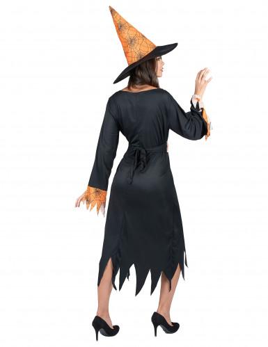 Disfraz naranja de bruja con arañas ideal para Halloween-2