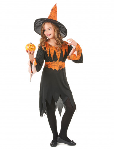 Disfraz naranja de bruja para niña, ideal para Halloween-1