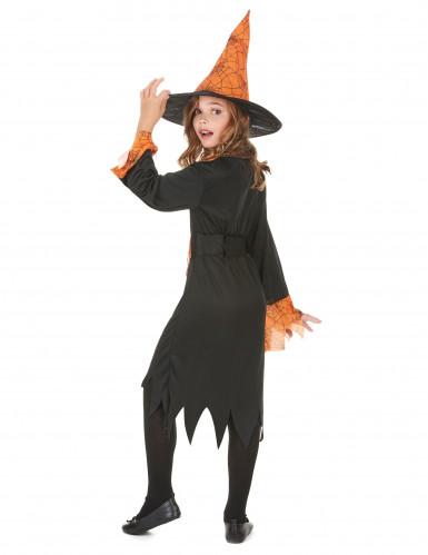 Disfraz naranja de bruja para niña, ideal para Halloween-2