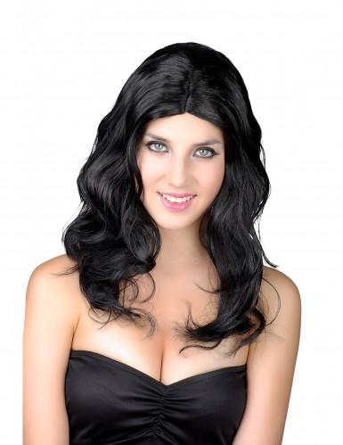 Peluca larga negra para mujer