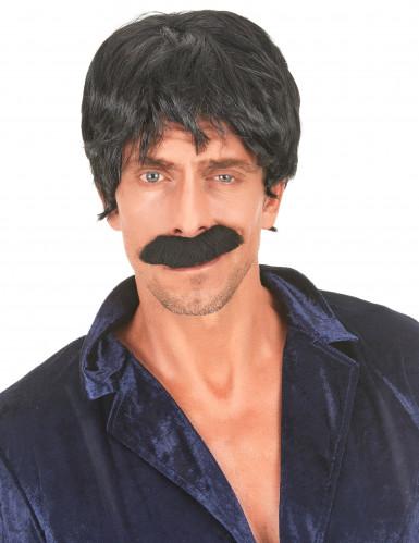 Peluca negra de cantante estilo disco para hombre