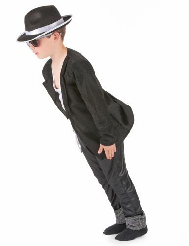 Disfraz negro de estrella del pop para niño-1
