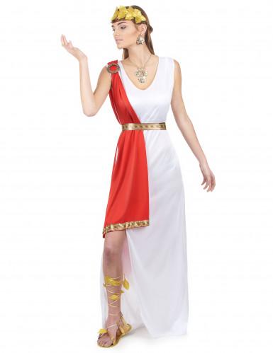 Disfraz de diosa romana toga roja para mujer