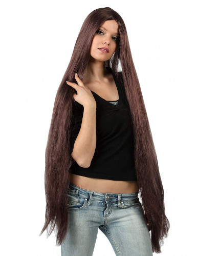 Peluca extralarga color castaño para mujer