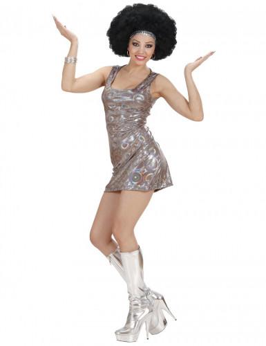 Vestido plateado estilo disco para mujer