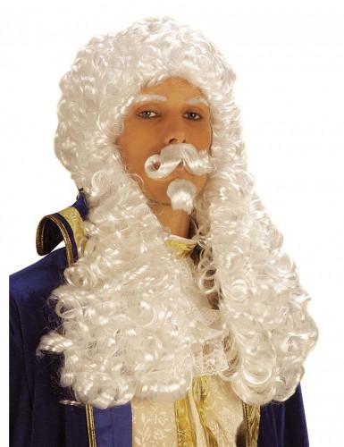 Peluca blanca de Francisco I para hombre
