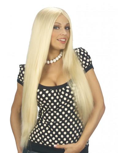 Peluca rubia para mujer con cabello largo