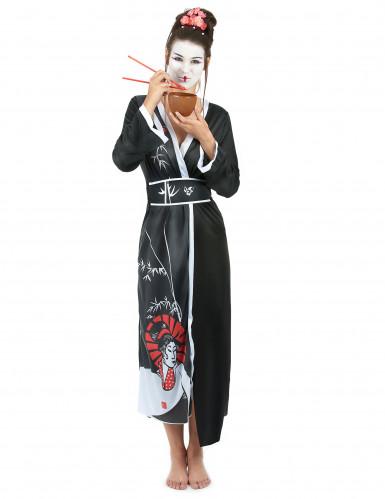 Disfraz de geisha en quimono para mujer