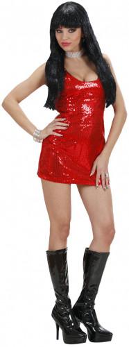 Disfraz de vestido rojo estilo disco para mujer