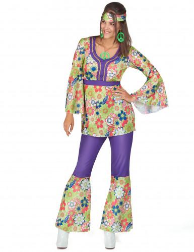 Disfraz de hippie para mujer morado y floral