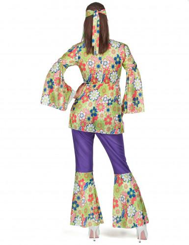 Disfraz de hippie para mujer morado y floral-2