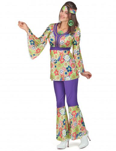Disfraz de hippie para mujer morado y floral-1