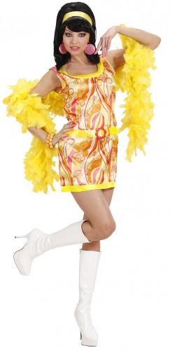 Disfraz de vestido naranja estilo años 70 para mujer