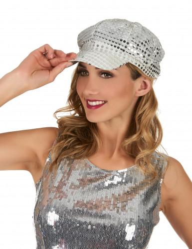 Gorra plateada estilo disco