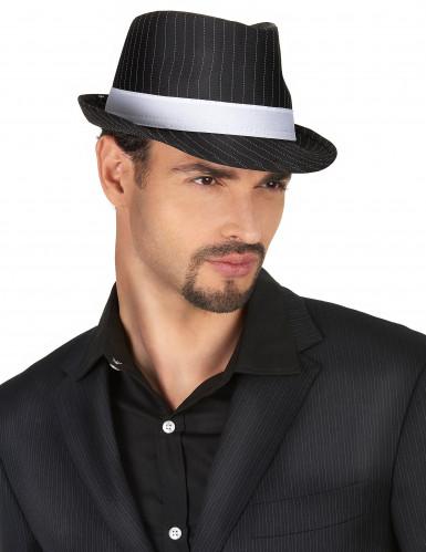 Sombrero negro de gánster con banda blanca-1