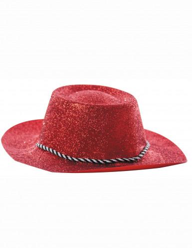 Sombrero rojo de vaquera con lentejuelas