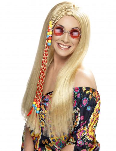 Peluca rubia hippie para mujer