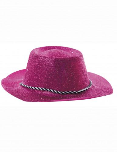 Sombrero rosa de vaquera con lentejuelas