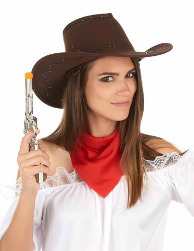 Sombrero marrón de vaquero adulto -2