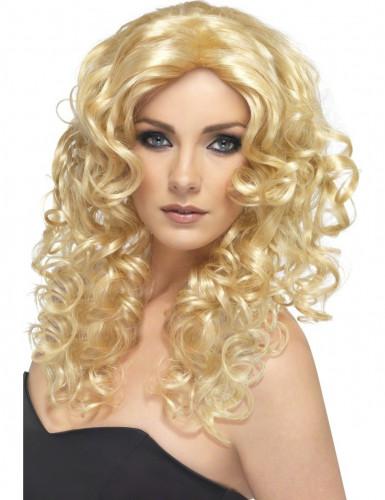 Peluca rubia ondulada para mujer