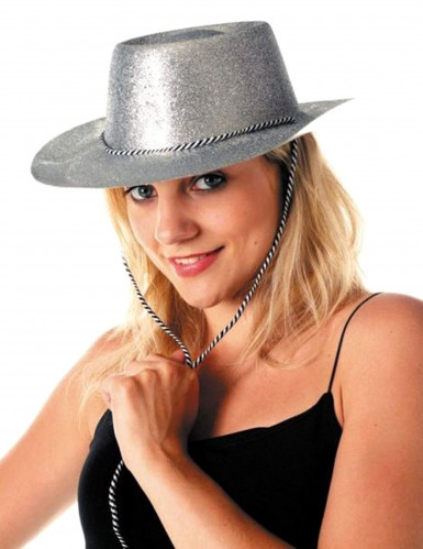 Sombrero plateado de vaquera con lentejuelas