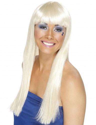 Peluca larga blanca mujer