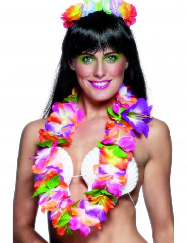 Collar hawaiano de colores vivos