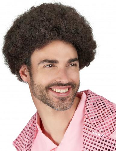 Peluca color castaño estilo disco para hombre