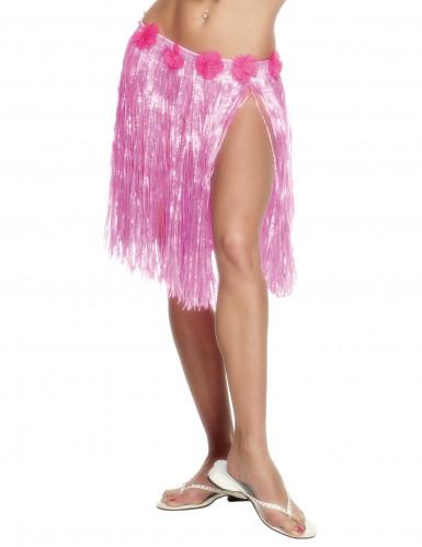 Falda hawaiana rosa para mujer