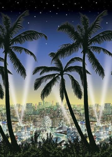 Póster gigante estilo ciudad con palmeras