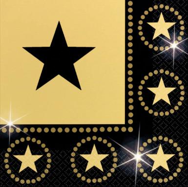 Servilletas de color negro y dorado con estrellas