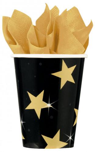 Vasos de color negro y dorado con estrellas