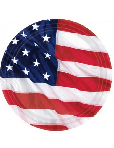 Platos con la bandera de EE.UU.