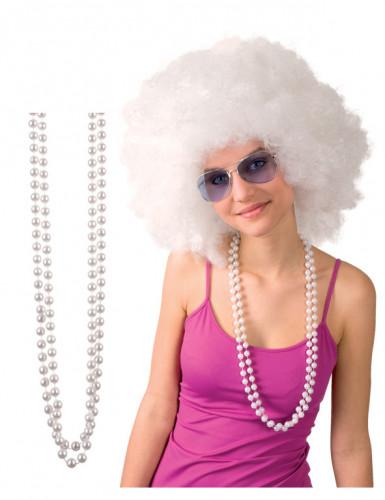 2 Collares de perlas blancas adulto
