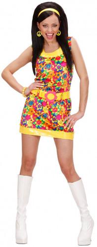 Disfraz de hippie para mujer corto y colorido