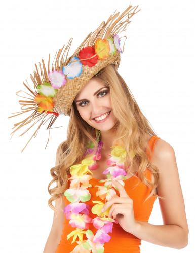 Sombrero de paja con flores-1