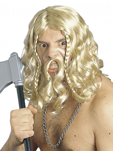 Peluca y bigote de vikingo