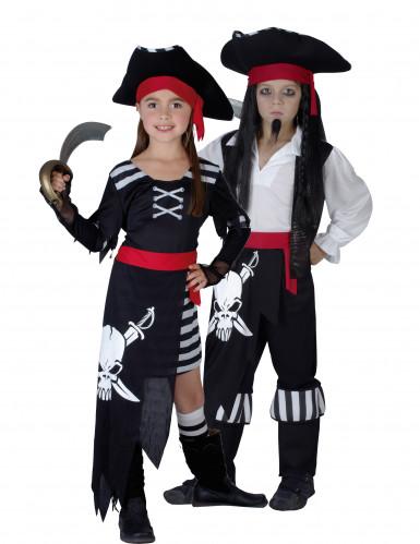 Disfraz infantil de pareja de jefe y jefa de los piratas