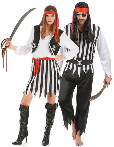 Disfraz de pareja de piratas calaveras