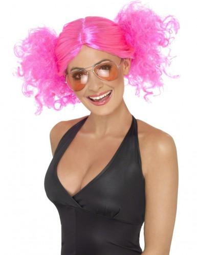 Peluca rosa fluorescente para mujer