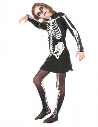 Disfraz de esqueleto para niña, ideal para Halloween-1