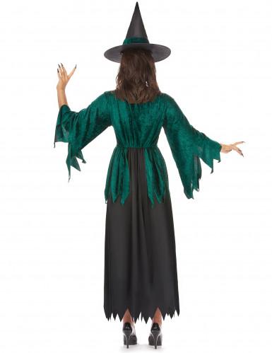 Disfraz de bruja verde y negro para mujer  -2