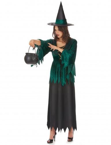 Disfraz de bruja verde y negro para mujer  -1